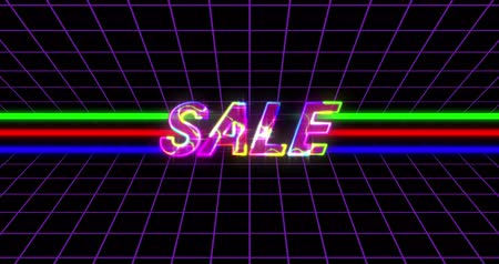 futurismo : Animation of retro Sale Advertisement on colourful lines against black background. 4k Filmati Stock