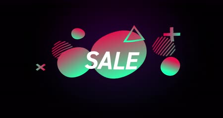 大胆な : Animation of Sale advertisement in colourful bubbles against retro background 4k