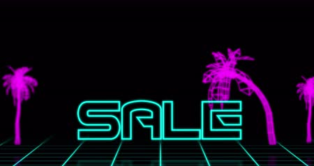 смелый : Animation of Neon Sale text against retro tropical background against black background 4k Стоковые видеозаписи