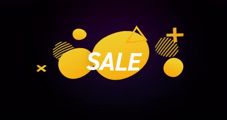 negrito : Animation of Sale advertisement in yellow bubbles against retro background 4k Vídeos