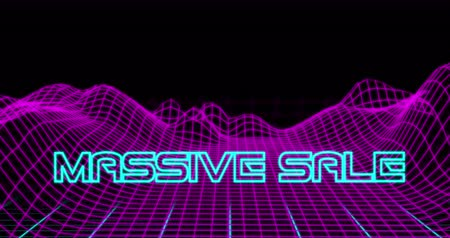 maciço : Animation of Neon Massive Sale text against retro digital mountains against black background 4k