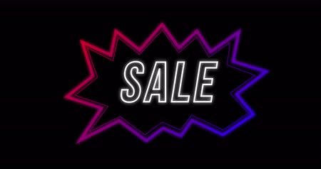 bold : Animation of Sale advertisement in Retro Eighties style with neon shape against black background 4k Stock Footage