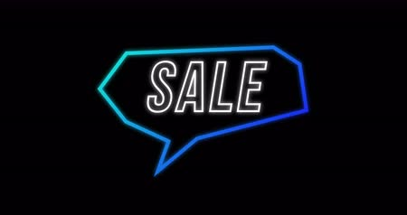 blue color : Animation of Sale advertisement in Retro Eighties concept with neon communication bubble against black background 4k