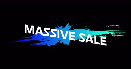 смелый : Animation of Massive Sale advertisement in Retro Eighties concept with neon paint against black background 4k
