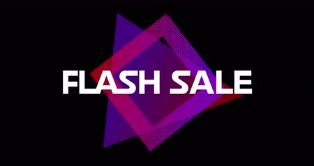 гласность : Animation of words Flash Sale appearing in front of purple square against black screen 4k Стоковые видеозаписи