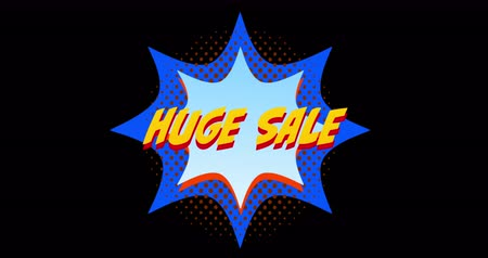popart : Animation of words Huge Sale in front of orange and blue explosion effect against black screen 4k