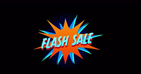 popart : Animation of blue words Flash Sale appearing in front of explosion blue effect against black screen 4k Wideo