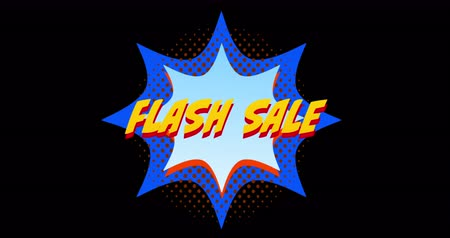 гласность : Animation of yellow words Flash Sale appearing in front of explosion blue effect against black screen 4k
