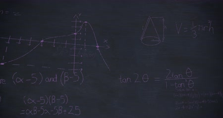 formulae : Animation of zoom in towards mathematical charts and equations written in pink chalk on a chalkboard 4k Stock Footage