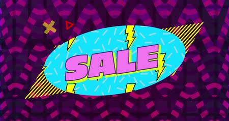 nineties : Animation of the word Sale written in pink letters on a blue oval with scrolling yellow lightning flash pattern against dark pink and purple striped v shapes in background with moving graphic elements 4k