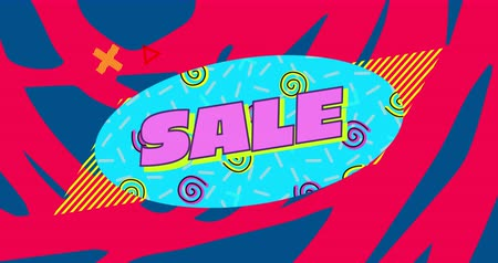 desenli : Animation of the word Sale in pink letters on a blue oval with moving spirals and moving graphic elements on a blue and red patterned background 4k Stok Video