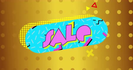 пунктирный : Animation of the word Sale in pink letters on a blue capsule shape with dotted yellow drop shadow and moving graphic elements on a gold background with dots 4k Стоковые видеозаписи
