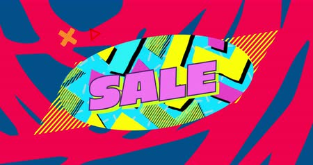 desenli : Animation of the word Sale in pink letters on a blue oval with yellow and pink shapes and moving graphic elements on a blue and red patterned background 4k