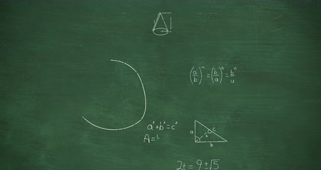 formulae : Animation of zoom out showing mathematical equations and calculations handwritten in white chalk moving on a green chalkboard background 4k