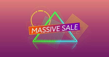 terms : Animation of the words Massive Sale in white capital letters and colourful outline and mesh shapes tumbling into position in the foreground, against a gradient dark pink background 4k
