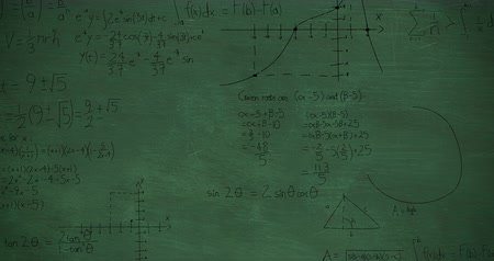 formulae : Animation of handwritten mathematical calculations in black appearing on a green chalkboard background 4k