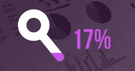 compleição : Animation of a white magnifying glass shape and percent increasing from zero to one hundred filling in pink showing the progress of an online search, on a dark purple background with moving graphs and data 4k