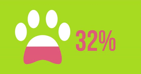 completo : Animation of animal paw shape and percent increasing from zero to one hundred filling in dark pink on lime green background 4k
