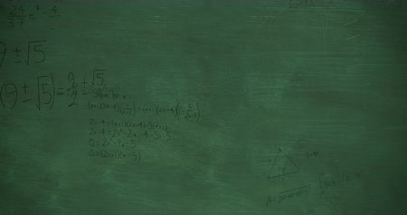 formulae : Animation of handwritten mathematical calculations in black floating over a green chalkboard background 4k Stock Footage