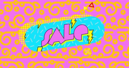 desenli : Animation of the word Sale written in pink letters on a blue capsule shape with scrolling yellow lightning flash pattern against a bright pink and yellow patterned background 4k