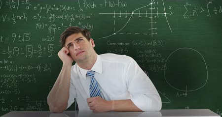 vzorec : Animation of Caucasian man seen waist up sitting and looking up thinking, in front of chalkboard with moving mathematical calculations written in chalk behind him 4k