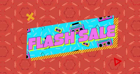desenli : Animation of the words Flash Sale in pink letters on a blue banner with moving graphic of audio tapes and tape players, against a red patterned background with moving graphic elements 4k Stok Video