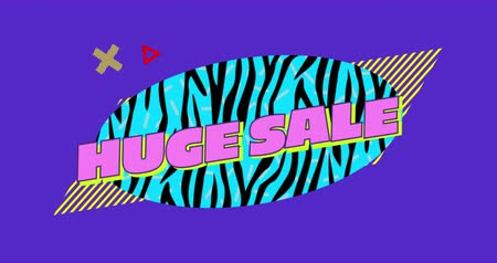 nineties : Animation of the words Huge Sale in pink letters on a blue oval with black zebra stripes and moving graphic elements on a purple background 4k