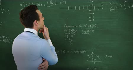 mento : Animation of head and shoulders back view of a Caucasian man with hand on chin facing a green chalkboard with moving mathematical calculations formulae written in chalk 4k