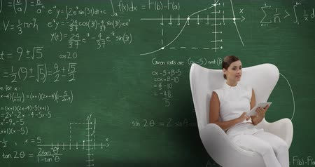matemático : Animation of a smiling Caucasian woman wearing white clothes sitting in a white chair using a tablet computer. Behind her is a green chalkboard with moving mathematical claculations written in chalk 4k
