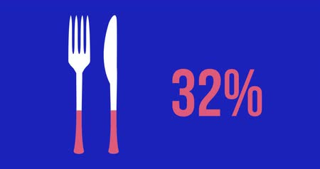 hodnocení : Animation of a knife and fork shape and percent increasing from zero to one hundred filling in pink on dark blue background 4k Dostupné videozáznamy