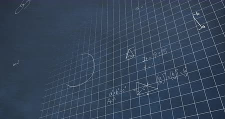 teoria : Animation of handwritten mathematical calculations in white chalk floating over a grid on a chalkboard background 4k