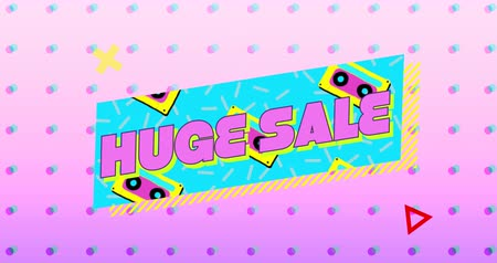 kaseta : Animation of the words Huge Sale in pink letters on a turquoise banner with moving graphic and shapes on a pink background with dots 4k