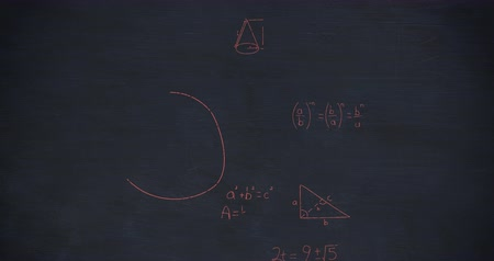 formulae : Animation of handwritten mathematical calculations in red floating over a dark chalkboard background 4k