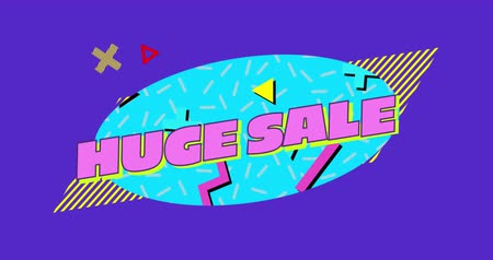 azaltmak : Animation of the words Huge Sale written in pink letters on a blue oval with moving graphic elements on a purple background 4k Stok Video
