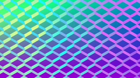 fluorescent : Animation of mesh pattern changing colour in waves from turquoise blue to purple and yellow, over a green to purple gradient background Stock Footage