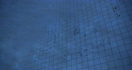formulae : Animation of handwritten mathematical calculations in black floating over a dark chalkboard background 4k
