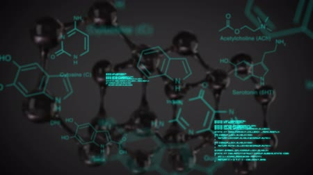 forensic : Animation of glowing blue scientific text and data moving over a dark background with a 3d model of a molecular structure Stock Footage