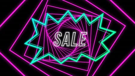 angular : Animation of the word Sale in white outline letters appearing in an angular blue shape on a black background with rotating angular pink fractal spiral