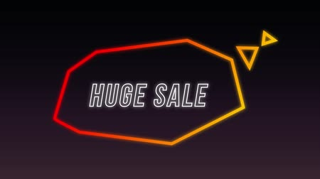 angular : Animation of the words Huge Sale in white outline capital letters appearing in an angular orange and red thought bubble on a black background