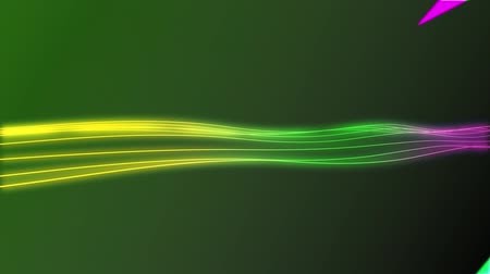 undulating : Animation of colourful lightning flashes enlarging and diminishing from the centre of the screen over a horizontal trail of thin yellow, green and purple wavy lines undulating over a dark green background Stock Footage