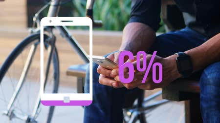 kusy : Animation of a smartphone icon and increasing percentage numbers filling with pink and reaching sixty per cent while a man seen mid section sitting by a bke holds his phone and checks his watch in the background
