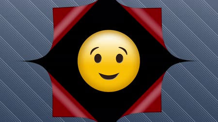 vystavený : Animation of grey striped wallpaper opening from the centre to reveal red underside and a smiling, winking yellow emoticon on a black background, before closing up again