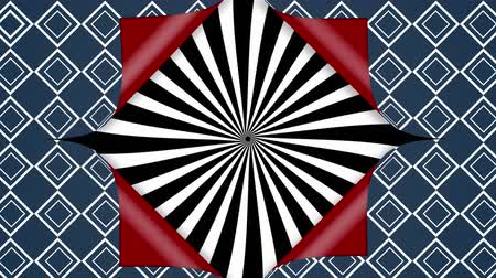 újra : Animation of blue wallpaper with repeating square pattern in white lines opening from the centre to reveal red underside and a rotating black and white lines emanating from the centre, before closing up again