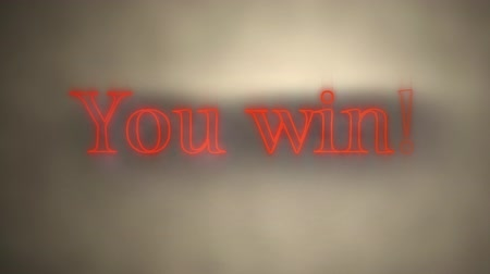 you win : Animation of the words You Win! in flickering red neon effect on a grey background with pools of light and shadow