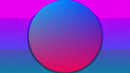 concêntrico : Animation of concentric green, blue and red circles enlarging and diminishing and diagonal lines over a pink and blue background with a rising and falling white sun
