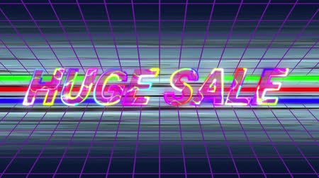 reducir : Animation of the words Huge Sale in changing multi-coloured italic capital letters with electrical current moving over them, on a purple grid and three green, red and blue moving horizontal lines and blurred white streaks against a black background