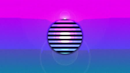 diminishing : Animation of concentric green, blue and red circles and parallel lines enlarging and diminishing from the centre over a pink and blue background with a rising and falling white sun ending with black background