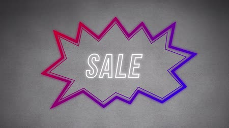 угловой : Animation of the word Sale in white outline letters appearing in an angular red and purple speech bubble on a background that changes from grey to pink and back to grey with a paint effect