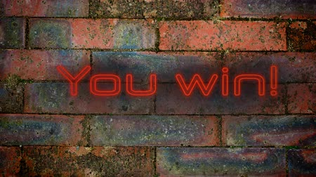 you win : Animation of the words You Win! in flickering red neon effect letters on a red brick wall background