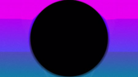 úhlopříčka : Animation of concentric green, blue and red circles enlarging and diminishing from the centre and diagonal lines over a pink and blue background with a rising and falling white sun ending with a black background